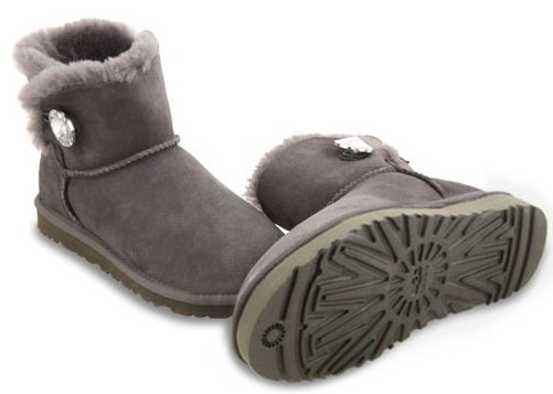 UGG Mini Bailey Button Bling Grey
