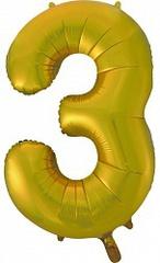 К (34''/86 см) Цифра, 3, Золото, 1 шт.