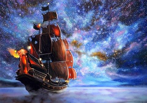 Картина раскраска по номерам 50x65 Корабль на фоне невероятного неба