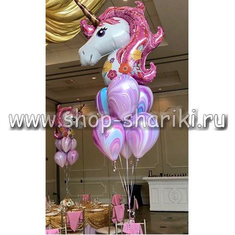 shop-shariki.ru фонтан из шаров Единорог