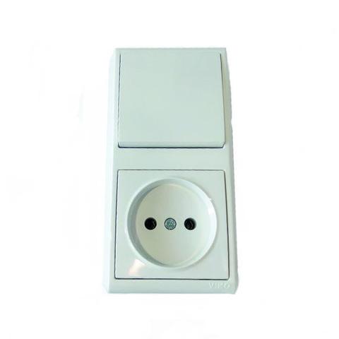 Выключатель + Розетка вертикальная накладная VIKO Vera белый