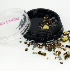 Pink House, Стразы микс золото, 10 гр