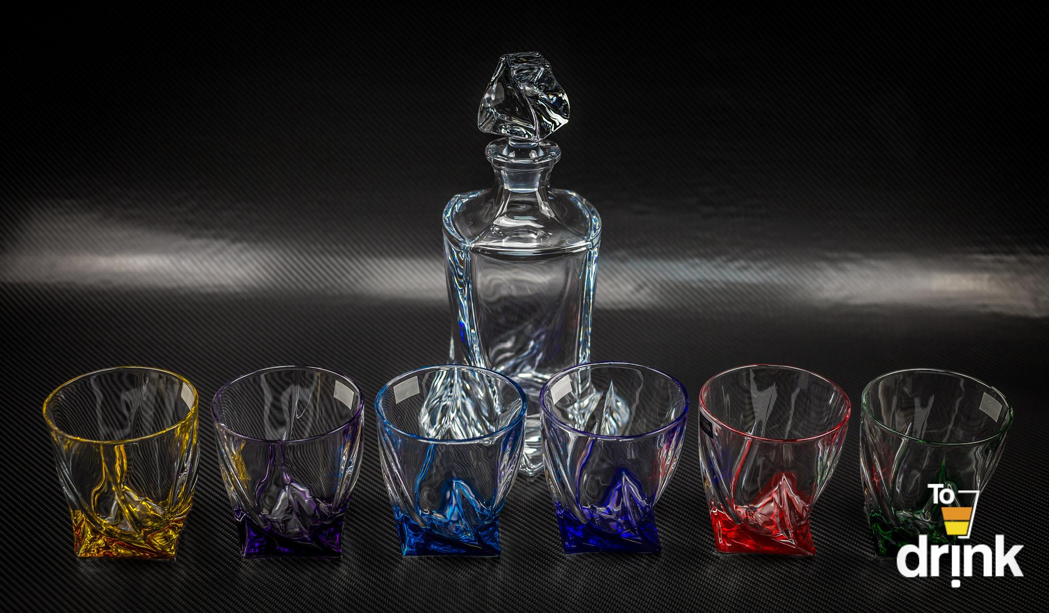 Набор для виски QUADRO Ассорти, 1 штоф и 6 бокалов гамма набор из 6 бокалов для виски регина