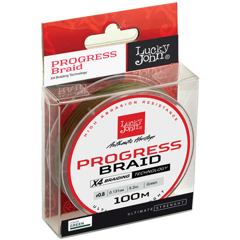 Плетеный шнур LUCKY JOHN Progress Braid Green 100 м - 0,240 мм