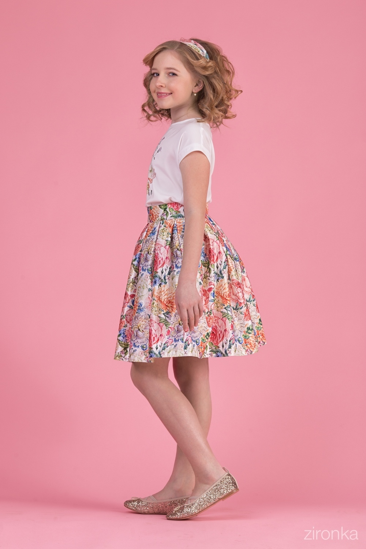 Комплект (блузка, юбка) разноцветный для девочки 64-8007-4