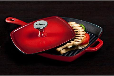 Сковорода-гриль чугунная красная, артикул ECSGP43