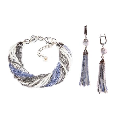 Комплект украшений из бисера серо-синий (серьги из бисера, бисерный браслет)