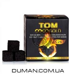 Натуральный кокосовый уголь для кальяна Tom Cococha Gold C26 (Том Кокоча) |1кг 64куб 26*26мм