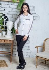 Джен. Рубашка молодежная с лампасом. Белый