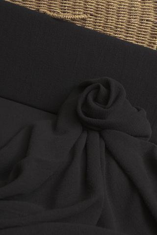 Лён смягченный, креп, цвет - черный