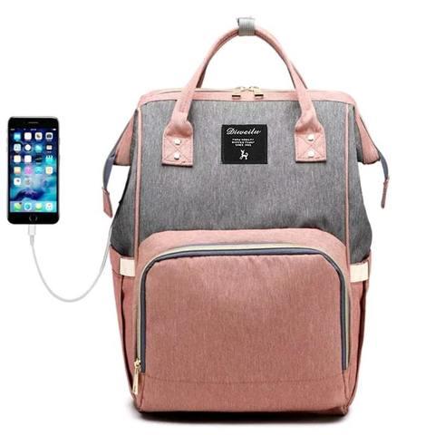 Mommy Bag. Сумка-рюкзак для мамы,  розовый/серый