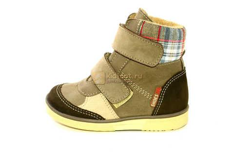 Ботинки для мальчиков Лель (LEL) на байке из натуральной кожи цвет коричневый. Изображение 3 из 14.