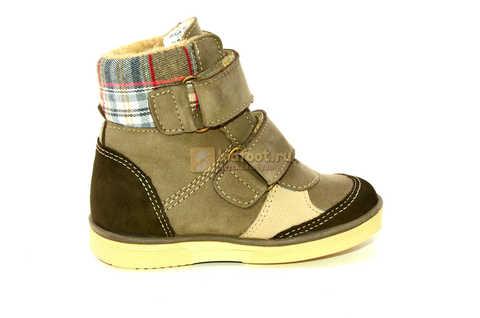 Ботинки для мальчиков Лель (LEL) на байке из натуральной кожи цвет коричневый. Изображение 4 из 14.