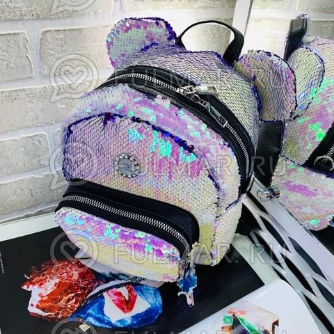 Рюкзак-Сумка с пайетками и ушами Перламутровый-Фиолетовый