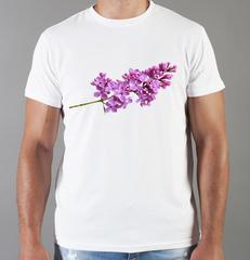 Футболка с принтом Цветы (Сирень) белая 002