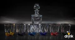 Набор для виски QUADRO Ассорти, 1 штоф и 6 бокалов, фото 2