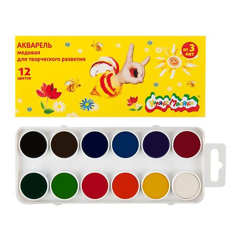 Акварель Каляка-Маляка 12 цветов круг.кювет пласт.уп./АМКМ12