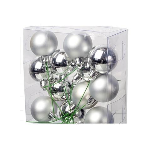 Набор шаров на проволоке 12шт. (пластик), D4см, цвет: серебро