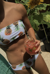 купальник раздельный бандо белый ананасовый принт 4