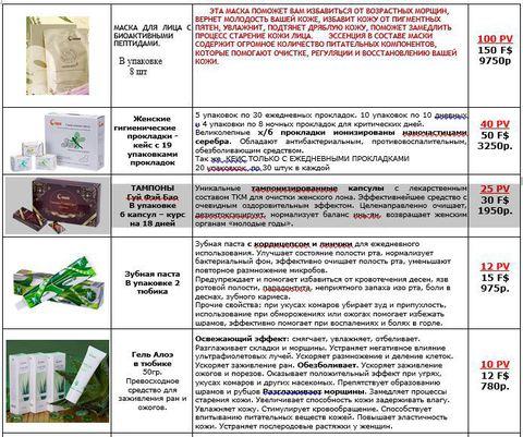 Прайс-лист FOHOW Косметика и гигиена