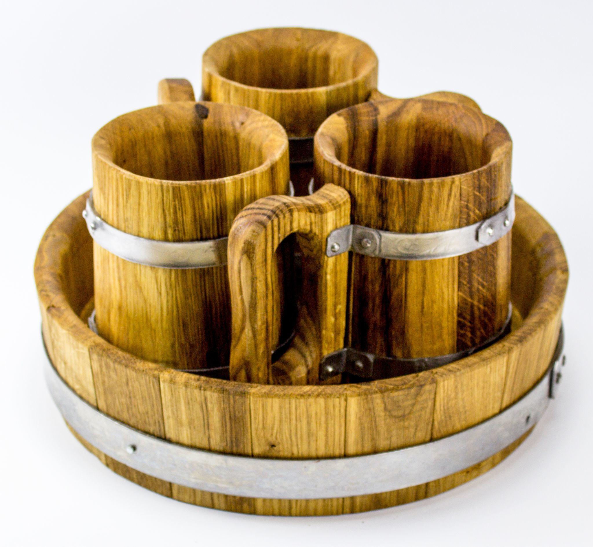 Набор пивной из 3-х дубовых кружек, с подносом to4rooms набор емкостей с подносом finimo