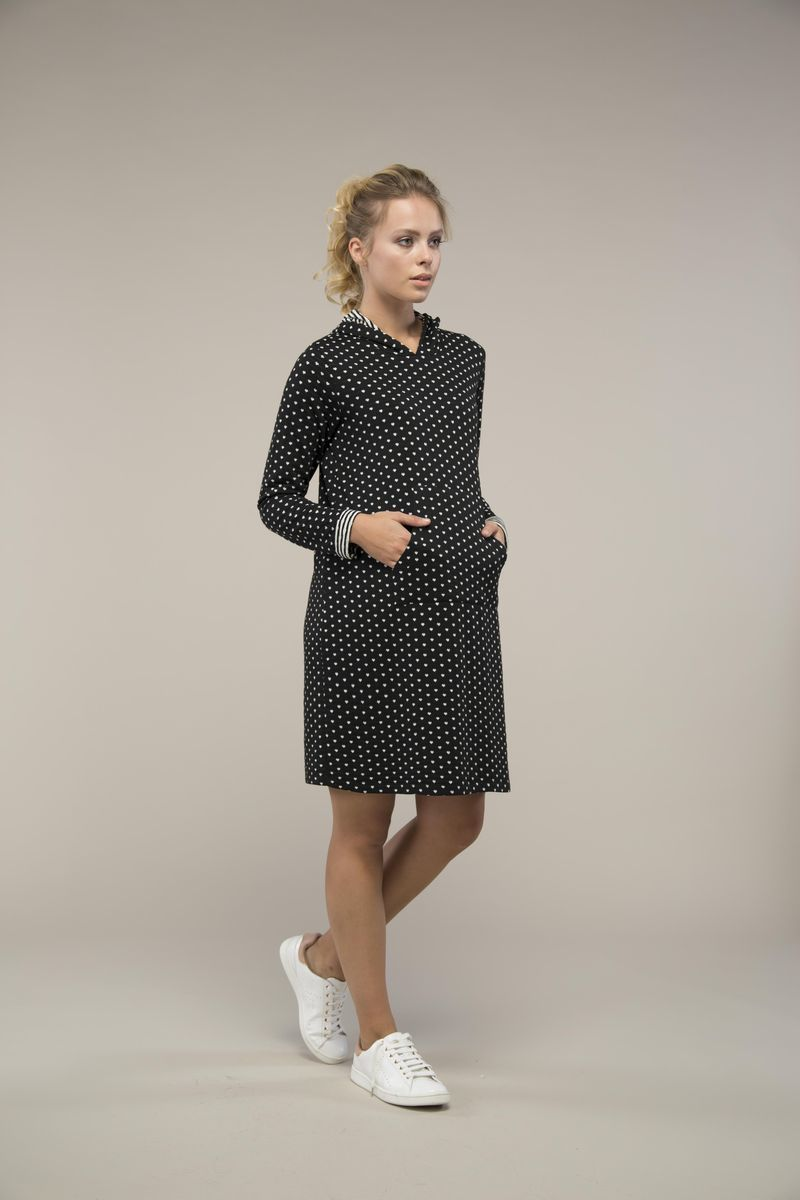 Фото платье для беременных с капюшоном GEBE от магазина СкороМама, черный, размеры.