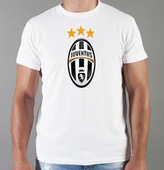 Футболка с принтом FC Juventus (ФК Ювентус) белая 001