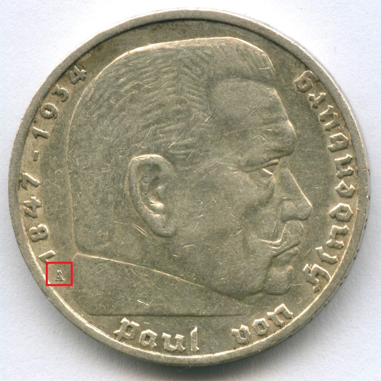 5 марок 3 рейх 1936 год (A) орел без свастики XF-AU