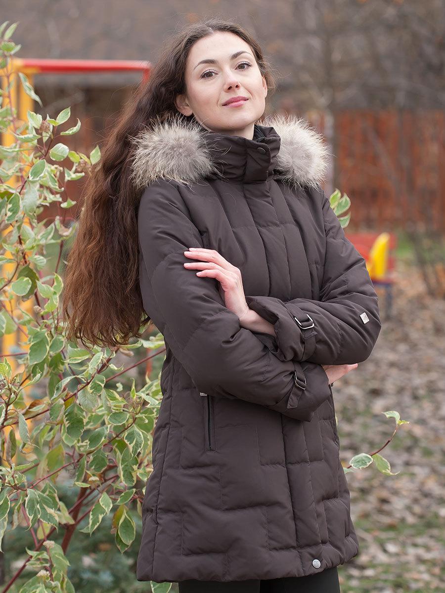 Joutsen пуховик Jenny Fur шоколад - Фото 1