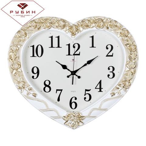 4134-004 (5) Часы настенные в форме сердца 41х35см, корпус белый с золотом