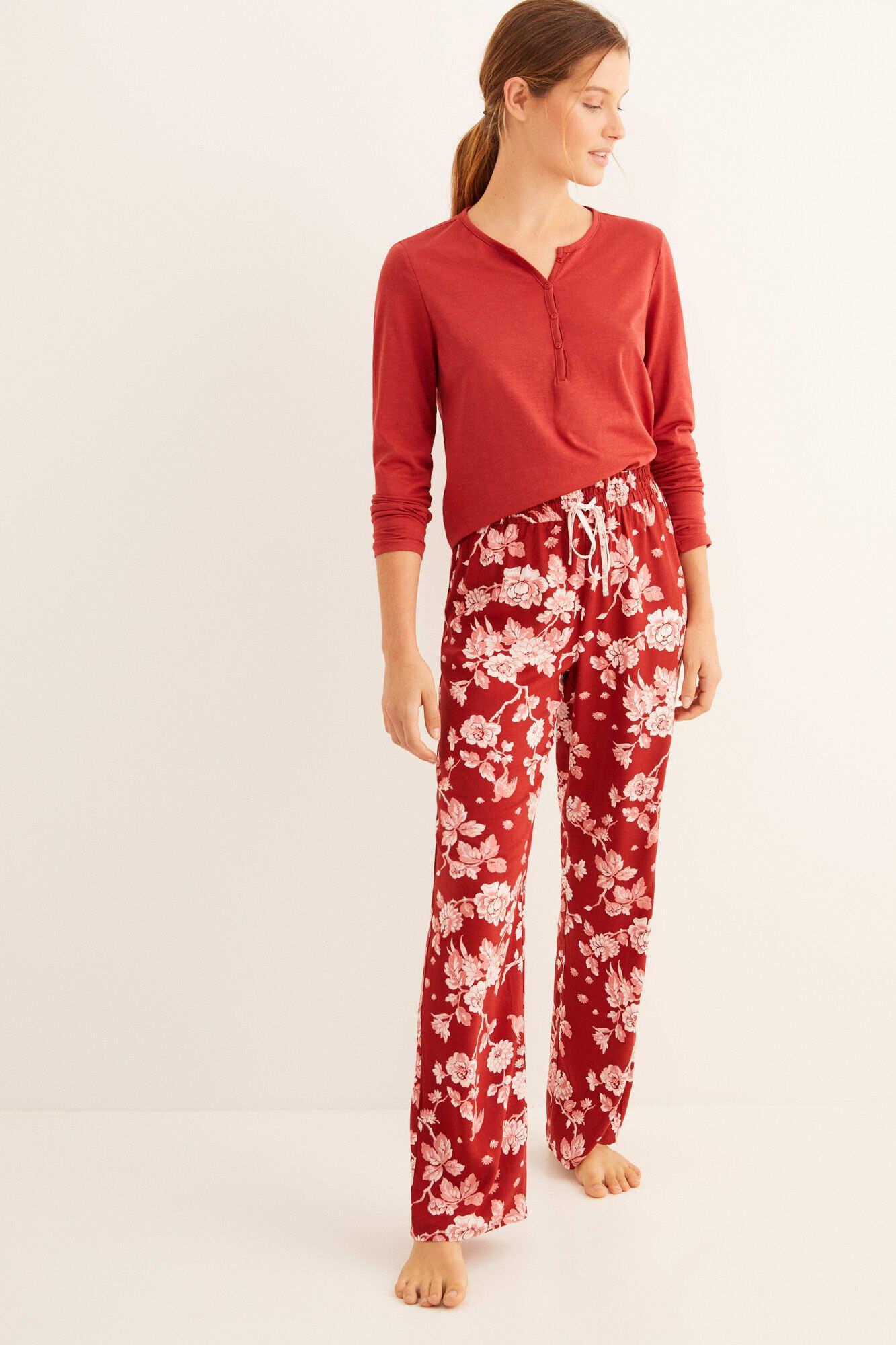 Довгі піжамні штани з бордовим принтом