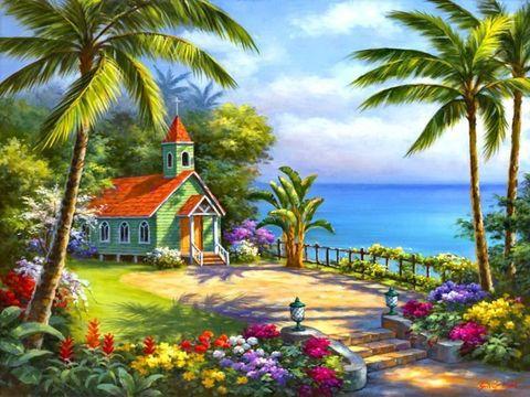 Картина раскраска по номерам 50x65 Домик у пальм