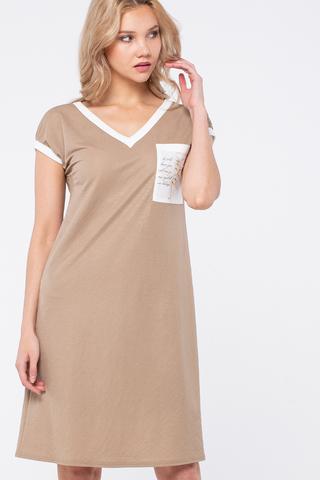 Фото бежевое полуприлегающее платье с v-образным вырезом без рукавов - Платье З444а-602 (1)