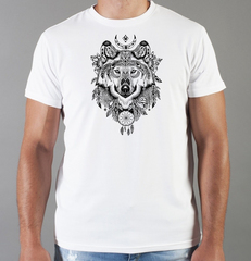 Футболка с принтом Волк (Wolf) белая 0043