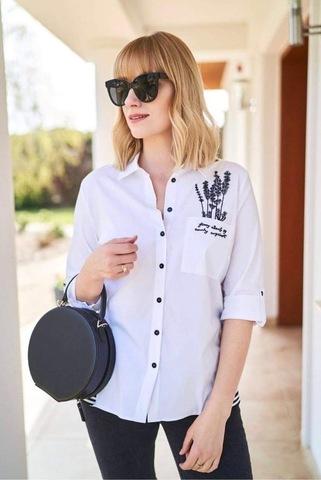 Блузка Kzara 2476 рубашка карман аппликация 3/4