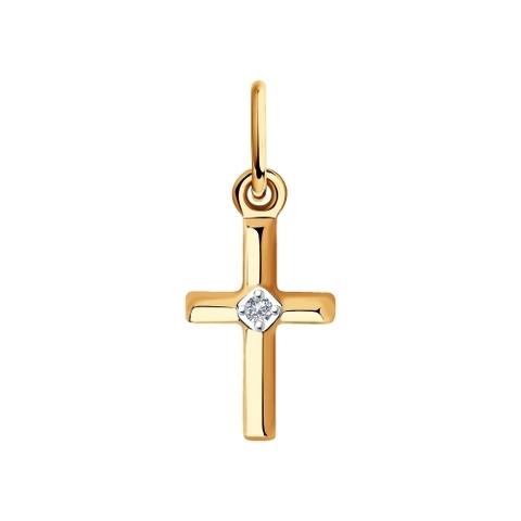 1030766-Крестик из белого золота с бриллиантом