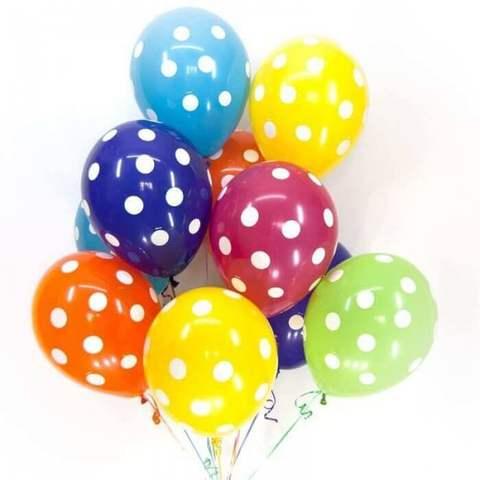 Латексные разноцветные шары в горошек (12 дюймов)