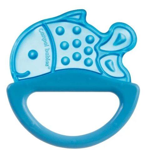Погремушка с эластичным прорезывателем, 0+ (голубой, форма: рыбка)