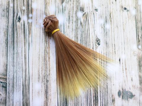 Волосся для ляльки, треси лялькові 15 см. Блонд з омбре.