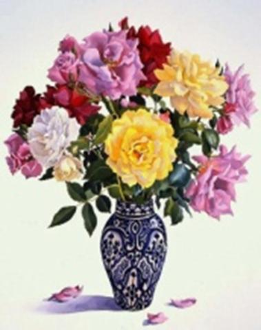 Картина раскраска по номерам 40x50 Цветной букет в синей вазе