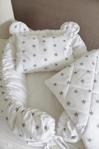 Babynest Комплект кокон + подушечка декоративная + одеяльце белый с серыми звездами
