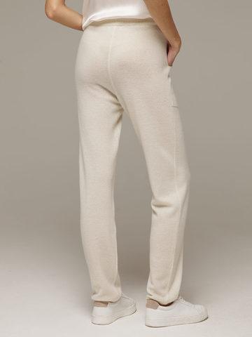 Женские белые брюки с карманами из 100% кашемира - фото 4