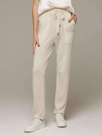Женские белые брюки с карманами из 100% кашемира - фото 2