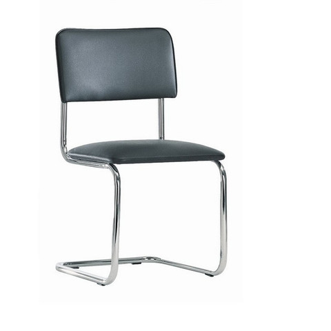 Кресло FA_Silwia каркас хром, к/з чёрный V4/DO350