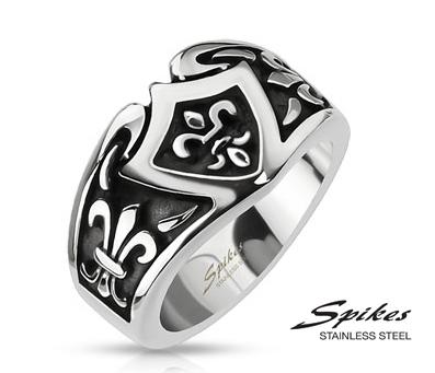 R-Q8032 Мужское широкое кольцо с геральдической лилией, «Spikes»