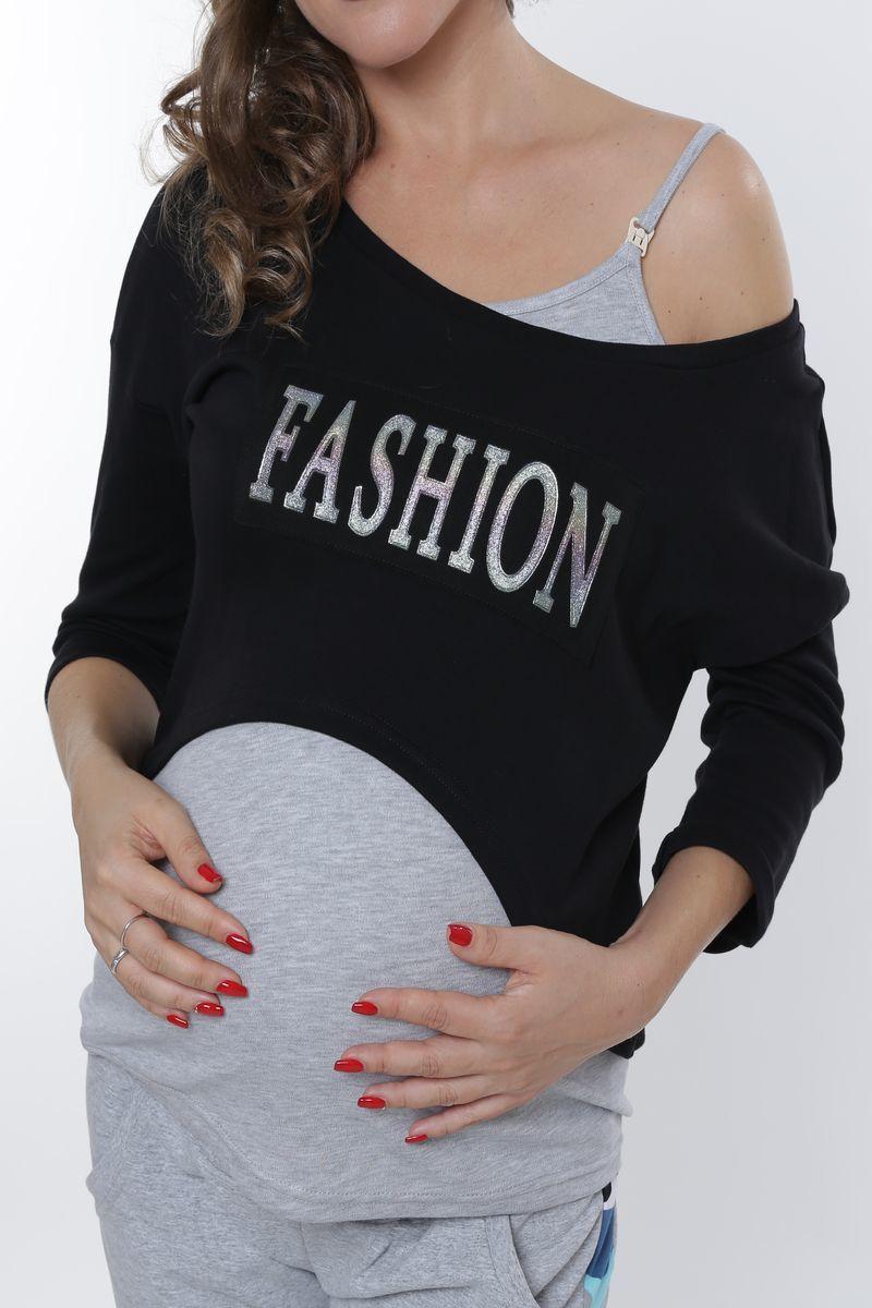 Спортивный костюм для беременных и кормящих 09012 черный