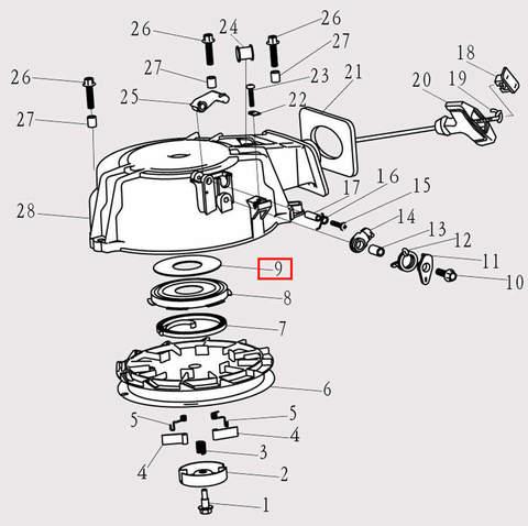 Шайба стартера для лодочного мотора F9.8 Sea-PRO (8-9)