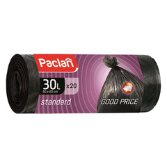 Мешки для мусора на 30 л Paclan Standart черные (ПНД, 7.3 мкм, в рулоне 20 шт, 50х60 см)