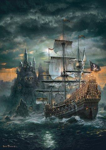 Алмазная Мозаика 30x40 Пиратский корабль в море