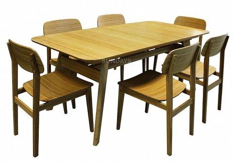 Комплект обеденной мебели Greenington CURRANTE G-0022-CA/G-0023-CA, бамбук, карамель
